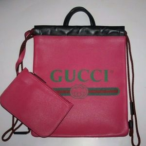 Gucci Pink Logo Print Leather Drawstring Backpack